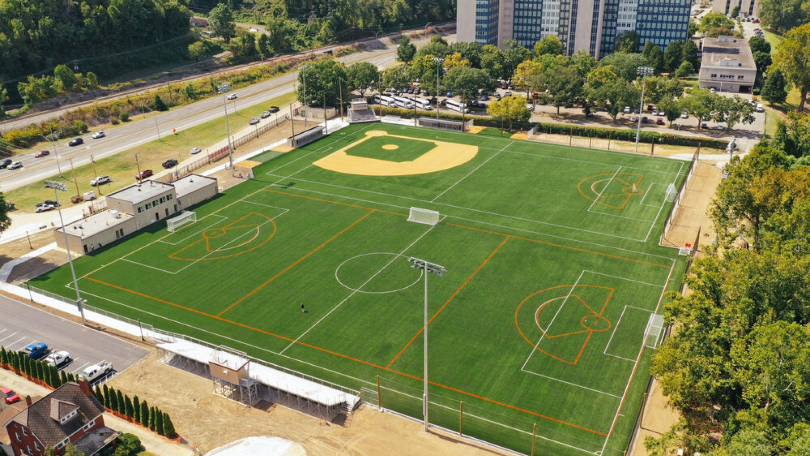 Aerial photo of Welch Athletic Complex fields.