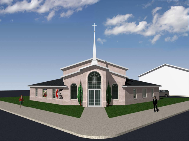 Duff Street United Methodist Church building exterior rendering.